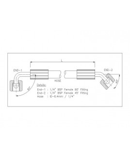"""Gates 1/4"""" 86 Bar Hose with 1/4"""" BSPF 90 Elbow Fitting + 1/4"""" BSPF 45 Elbow Fitting"""
