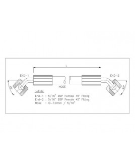"""Gates 5/16"""" 28 Bar Hose with 5/16"""" BSPF 45 Elbow Fitting + 5/16"""" BSPF 45 Elbow Fitting"""