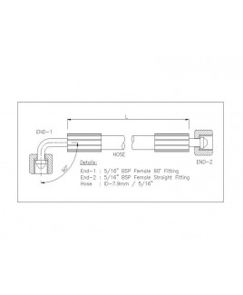 """Gates 5/16"""" 83 Bar Hose with 5/16"""" BSPF 90 Elbow Fitting + 5/16"""" BSPF Straight Fitting"""