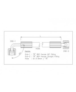 "Gates 1-1/4"" 126 Bar Hose with 1-1/4"" BSPF 90 Elbow Fitting + 1-1/4"" BSPF Straight Fitting"