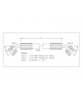 """Gates 1/4"""" 86 Bar Hose with 1/4"""" BSPF 45 Elbow Fitting + 1/4"""" BSPF 45 Elbow Fitting"""