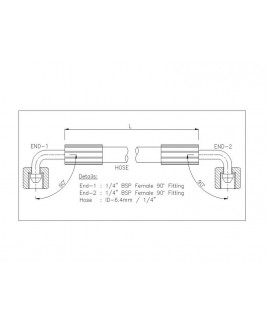 """Gates 1/4"""" 86 Bar Hose with 1/4"""" BSPF 90 Elbow Fitting + 1/4"""" BSPF 90 Elbow Fitting"""