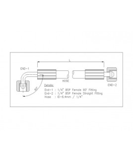"""Gates 1/4"""" 28 Bar Hose with 1/4"""" BSPF 90 Elbow Fitting + 1/4"""" BSPF Straight Fitting"""