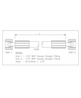 """Gates 1/4"""" 28 Bar Hose with 1/4"""" BSPF Straight Fitting + 1/4"""" BSPF Straight Fitting"""