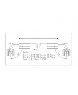 """Gates 5/16"""" 28 Bar Hose with 5/16"""" BSPF 90 Elbow Fitting + 5/16"""" BSPF 90 Elbow Fitting"""